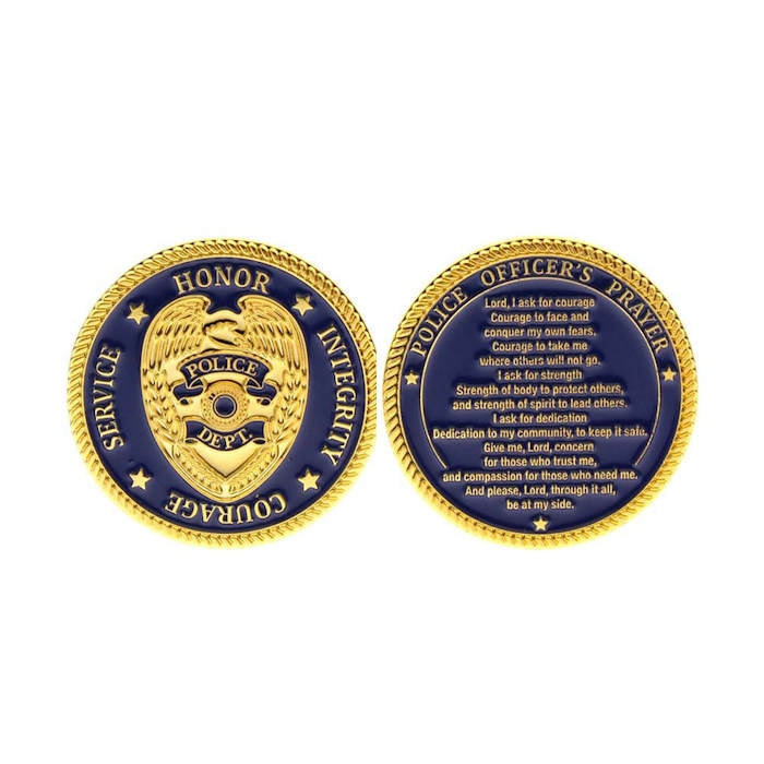 Police Prayer Coin Deluxe Gold  and Blue Challenge Coin