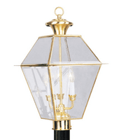 Outdoor Post 3 Light With Clear Beveled Glass Polished Brass size 22 in 180 Watts - World of Crystal