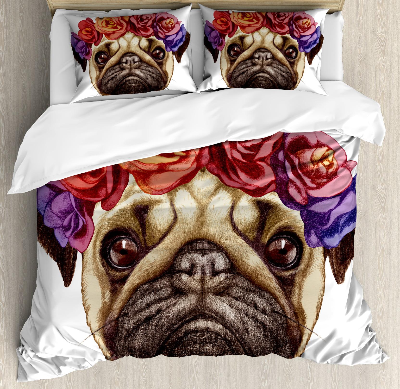 Pug King Size Duvet Cover Set, Floral Head Wreath on Head...