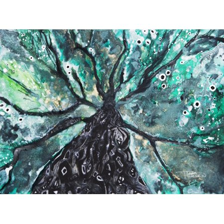 Abstract Watercolor Painting Of A Tree And Its Branches Canvas Art - Tara Thelen Design Pics (18 x 13)