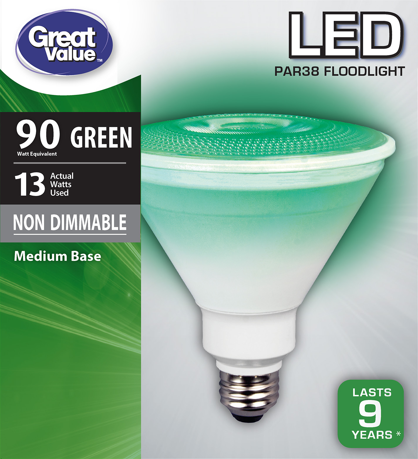 Great Value LED P38 Floodlight Light Bulb, 13W (90W Equivalent), Green