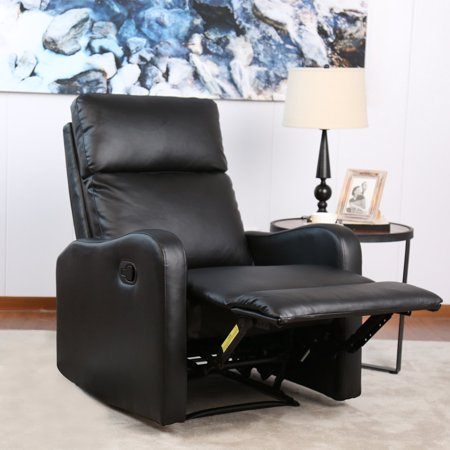 - BONZY Recliner Chair Black Leather Chairs for Modern Living Room Durable Framework