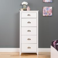 Prepac Yaletown 5-Drawer Tall Chest, White