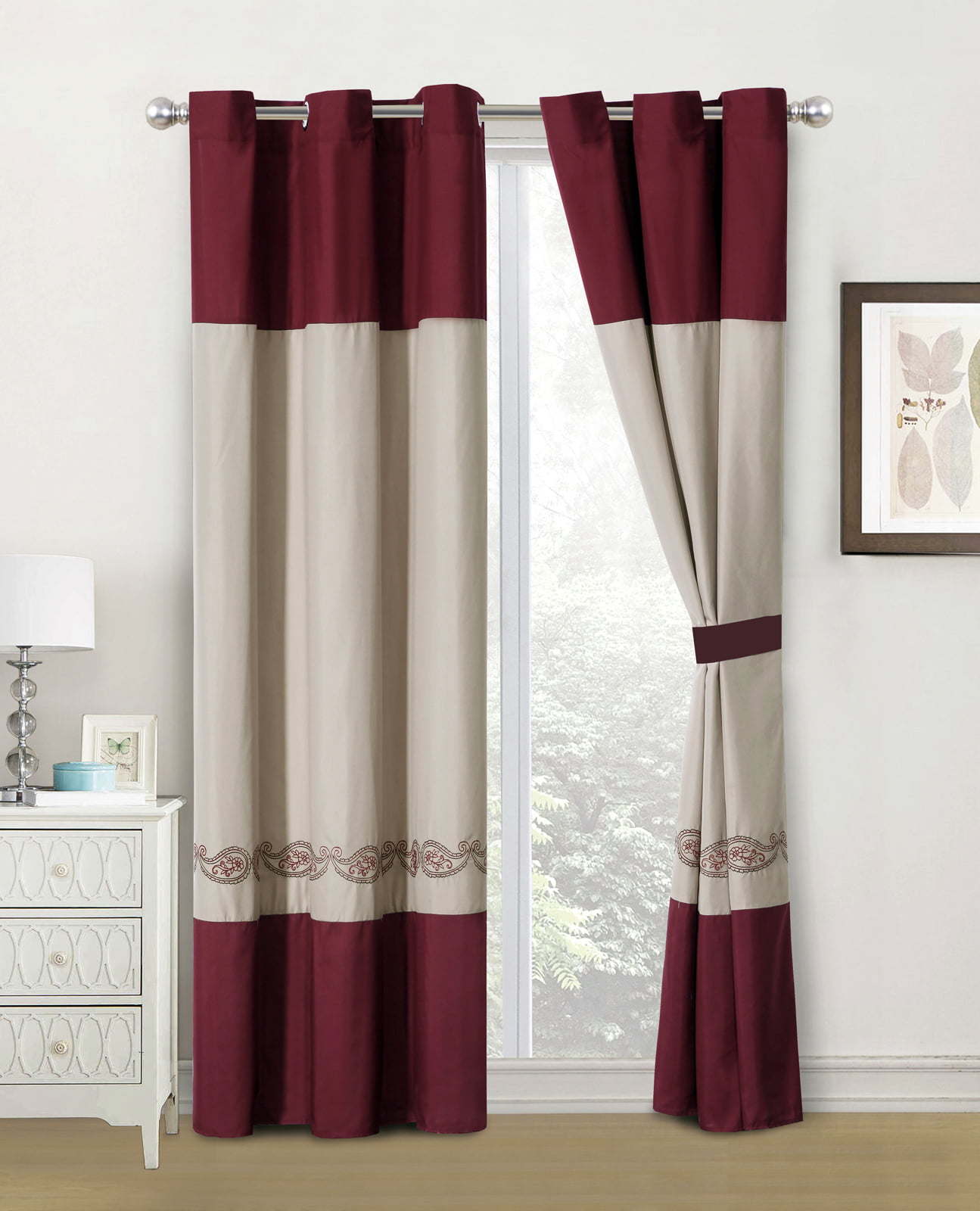 4-Pc Marquise Floral Paisley Embroidery Curtain Set