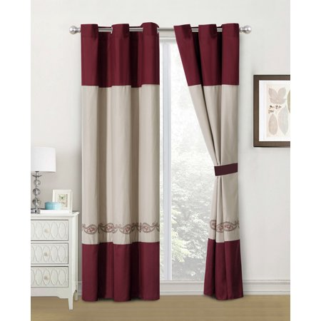 4-Pc Marquise Floral Paisley Embroidery Curtain Set Burgundy Brown Beige Drape Grommet Sheer Liner