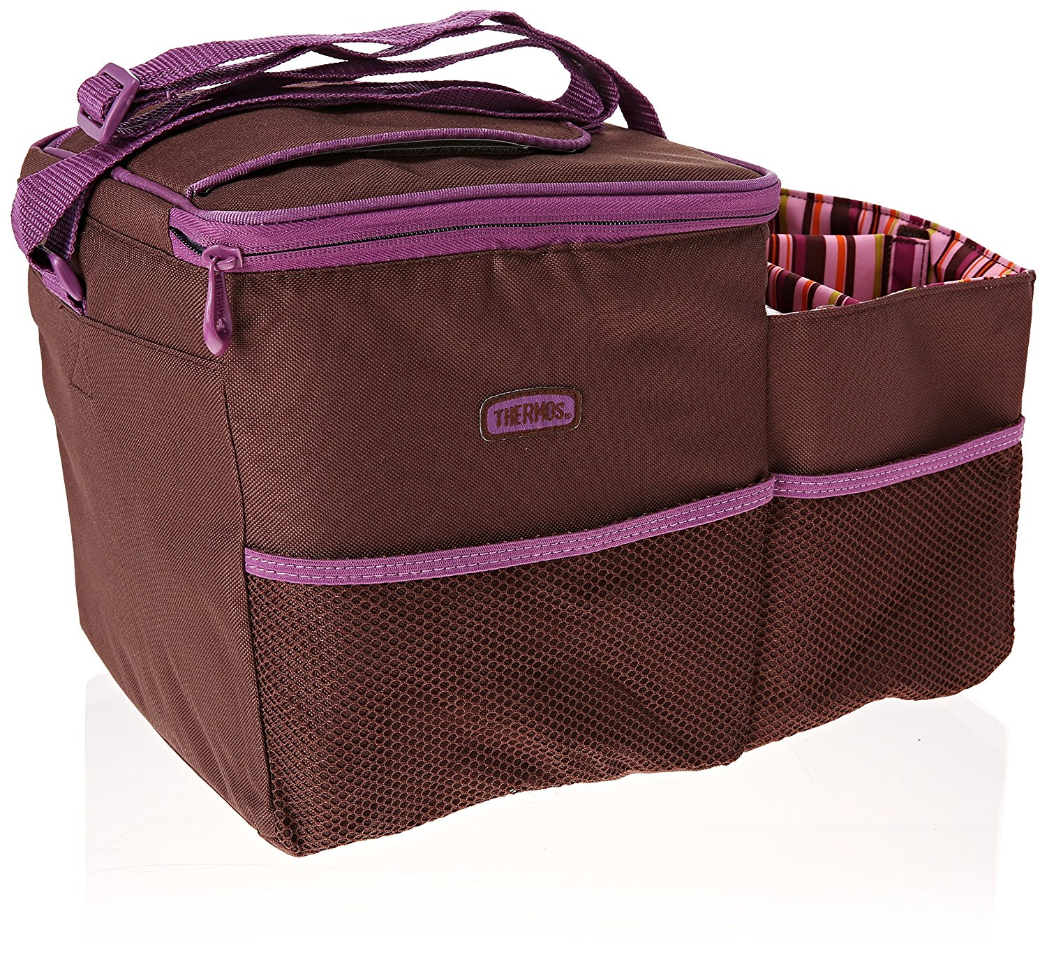 Thermos Trvl Insulated Cooler Bag Car Front Seat Organizer Brown/blue Brown/Pink (Brown/Pink)