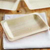 "BalsaCircle 25 pcs 8"" x 5"" Disposable Natural Birch Wooden Rectangle Plates - Eco Friendly Biodegradable Wedding Party Tableware"