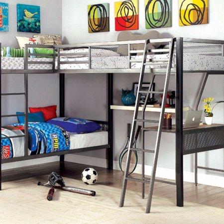Benzara Shaped Triple Twin Contemprorary Bunk Bed Desk