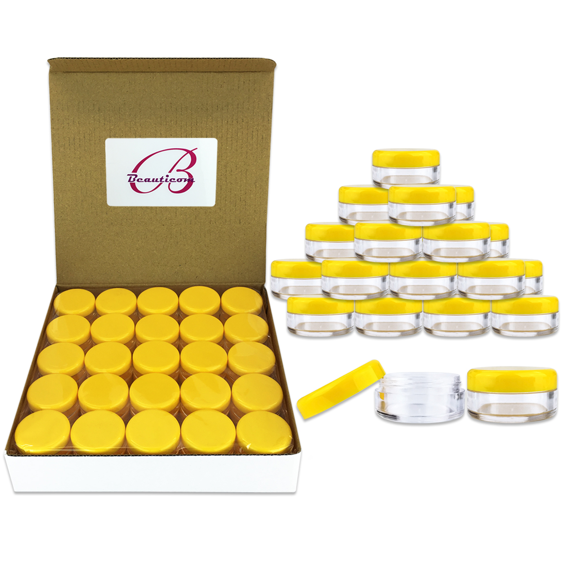 Beauticom 50 Pieces High Quality 5 Gram 5 ml (0.17 oz) Acrylic Round Cosmetic Beauty Makeup Sample Jars with Yellow Lids