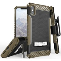 """iPhone Xs Max Case with Clip, Tri-Shield Rugged Cover and Belt Hip Holster [with Metal Kickstand + Wrist Strap Lanyard] for Apple iPhone Xs Max (Size 6.5"""" model) (iPhone 10s Max)"""