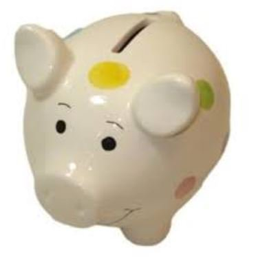King Max Ceramic White Piggy Bank With Polka Dots - Large Ceramic Piggy Bank