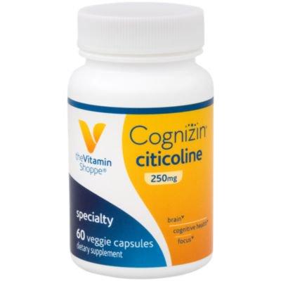 - The Vitamin Shoppe Cognizin Citicoline 250MG, Cognitive Health Supplement to Support Brain and Focus (60 Veggie Capsules)