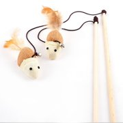 Funny Kitten Play Length Interaction Toy Cat Teaser Wand Assorted Linen Mouse Toy with Small Bell and Soft Feather