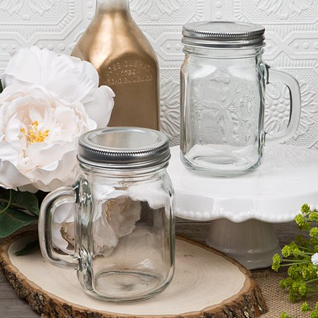 2 12 Ounce Perfectly Plain Glass Mason Jar with Handle from Fashioncraft