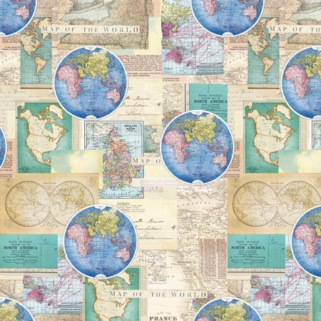 Vintage cartography quilting cotton fabric by the yard 44 vintage cartography quilting cotton fabric by the yard 44 gumiabroncs Gallery