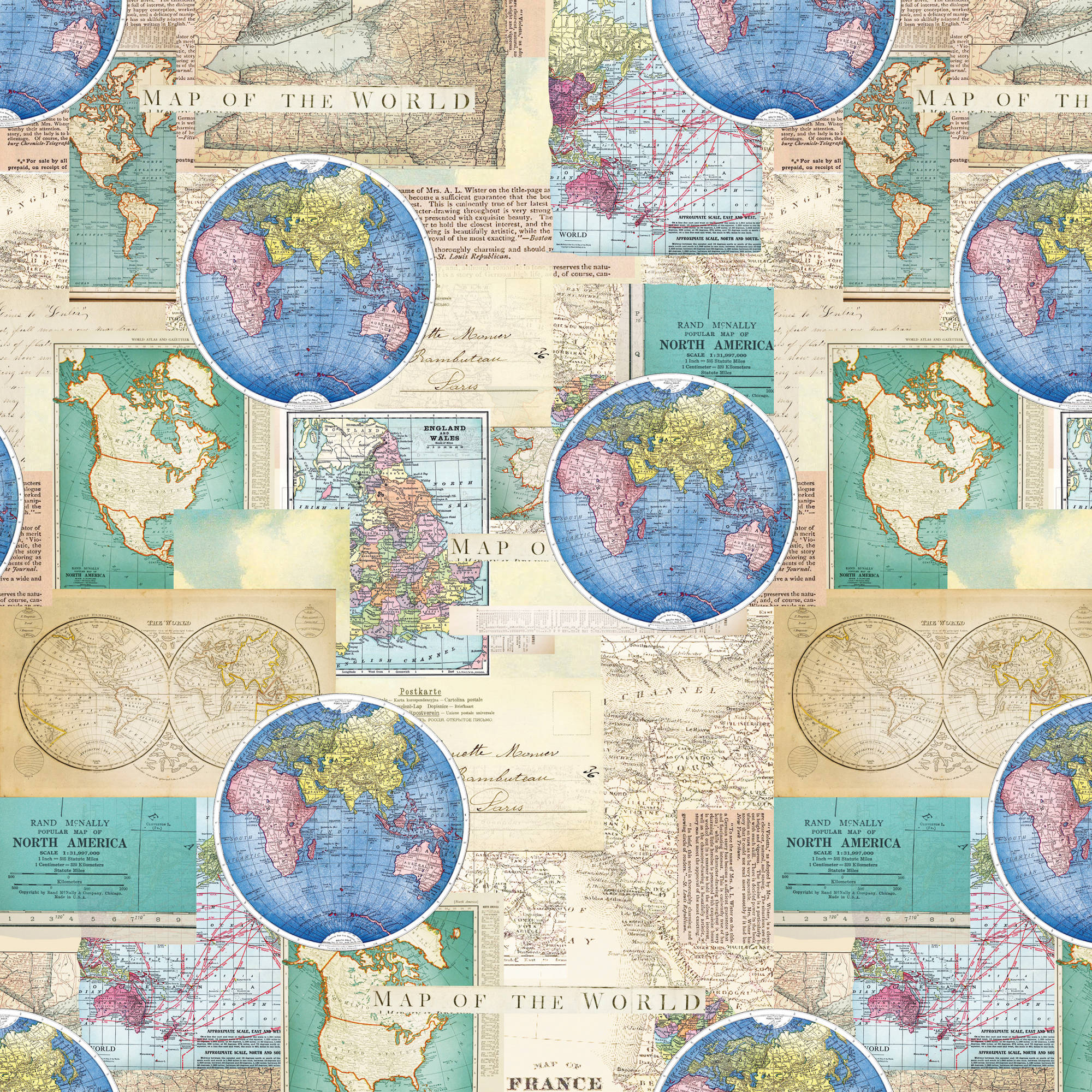 Vintage Cartography Quilting Cotton Fabric By The Yard, 44""