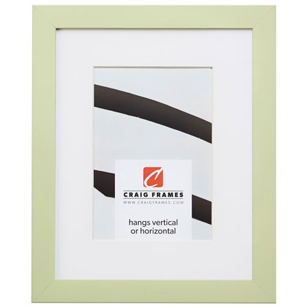 Craig Frames Confetti, 8 x 10 Inch Modern Light Green Picture Frame Matted to Display a 5 x 7 Inch Photo