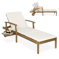 Best Choice Products 79x30in Acacia Wood Outdoor Chaise Lounge Chair w/ Adjustable Backrest, Table, Wheels - Cream