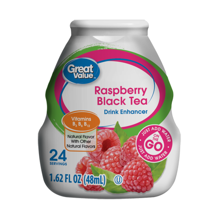 ((10 Pack) Great Value Drink Enhancer, Raspberry Black Tea, 1.62 fl oz)