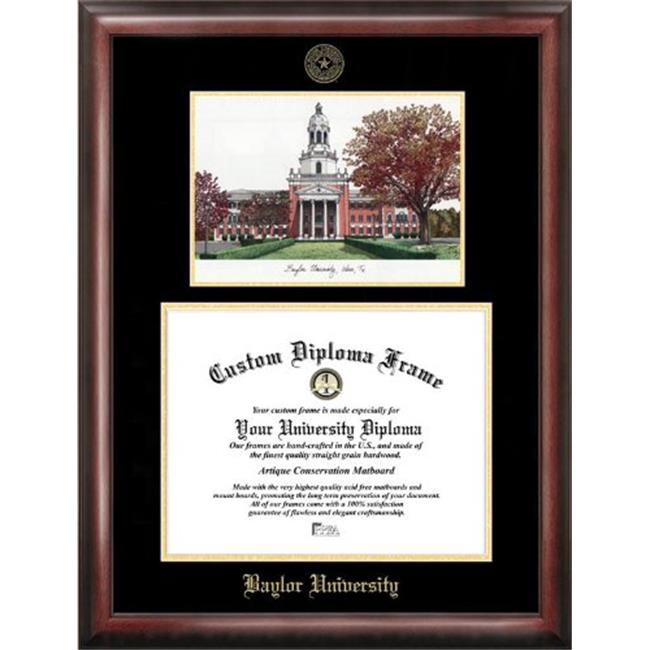 """Baylor University 11"""" x 14"""" Gold Embossed Diploma Frame with Campus Images Lithograph"""