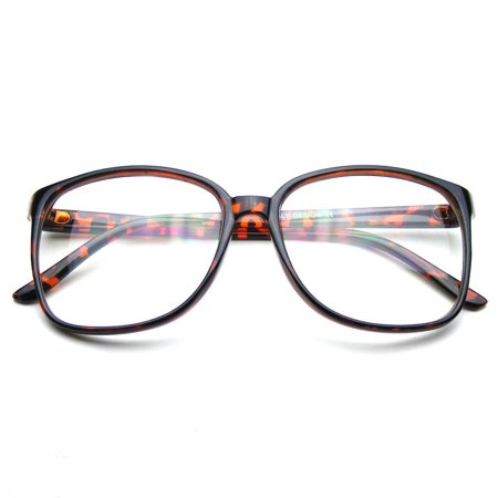 522a94f704 Emblem Eyewear - Large Oversized Horn Rim Glasses Clear Lens Thin Frame Nerd  Glasses - image ...