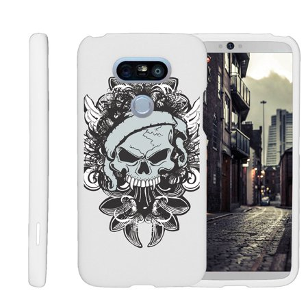 LG G5 H850, H830, H820, LS992, G5 SE, H845, [SNAP SHELL][White] 2 Piece Snap On Rubberized Hard White Plastic Cell Phone Case with Exclusive Art -  Demon Skull ()