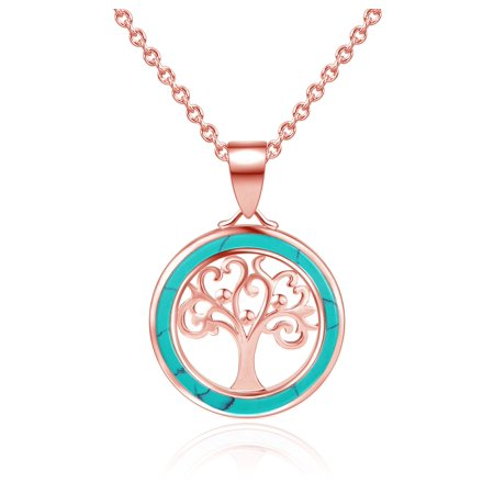 Natural Blue Turquoise Tree of Life Inlay Necklace in 18K Rose Gold Plating