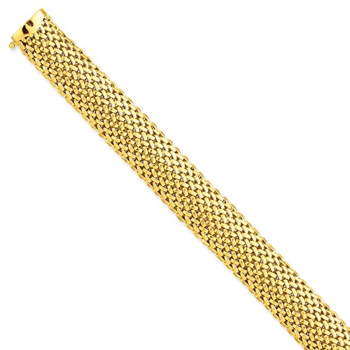14k Yellow Gold 7in 7.25in 13.75mm Polished Mesh Bracelet by Jewelrypot