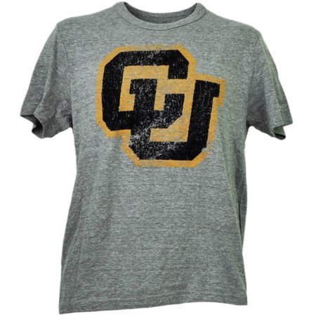 NCAA Colorado Buffaloes Felt Logo Short Sleeve Mens Tshirt Tee Crew Neck XLarge