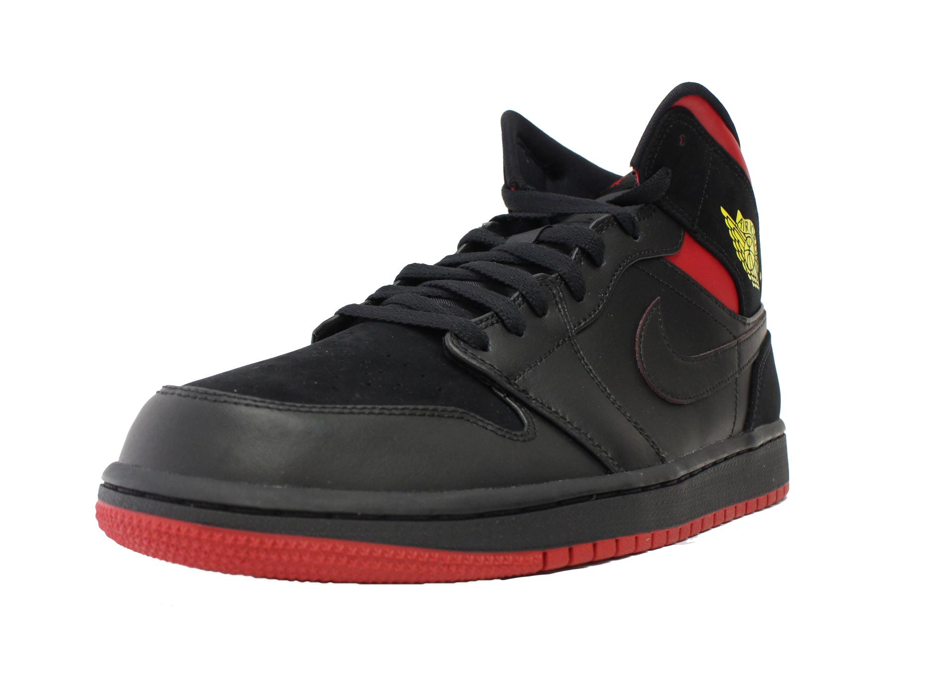 new product 358ec f4a1c NIKE AIR JORDAN 1 MID LAST SHOT BLACK RED YELLOW BRED 554724 076 ...