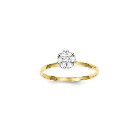 - Solid 10k Yellow Gold Heart CZ Cubic Zirconia Cluster Promise Ring (1mm) - Size 4