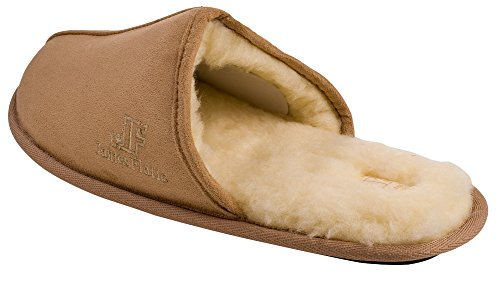 J. Fiallo Mens Fleece Lined Velour Scuff House Slipper With Classy Imprinted Emblem