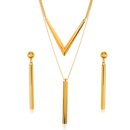 - Gold Tone Cylinder Bar Charm Necklace and Earrings Jewelry Set