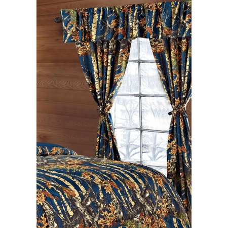Dark Wood Window - The Woods Navy Blue Camouflage 5pc Curtain Set by Regal Comfort For Hunters Cabin or Rustic Lodge Teens Boys and Girls (Curtain, Navy Blue)