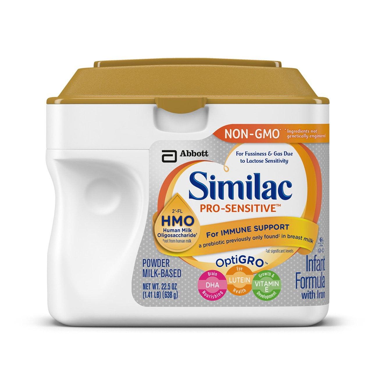 Similac Pro-Sensitive Infant Formula with 2-FL Human Milk Oligosaccharide* (HMO) for Immune Support 22.5 ounces Pack of 6 (Lid Color Varies)