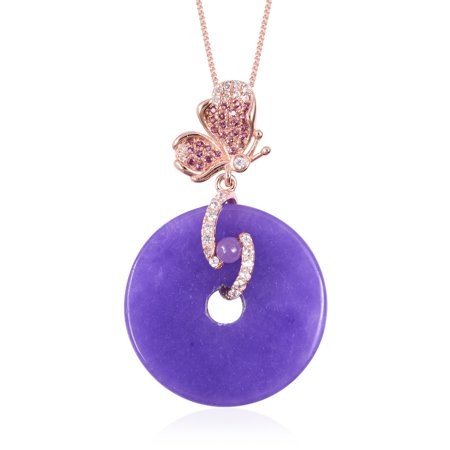 Purple Jade Drop - Chain Butterfly Drop Pendant Necklace 925 Sterling Silver Purple Jade White Zircon Gift Jewelry for Women Size 18