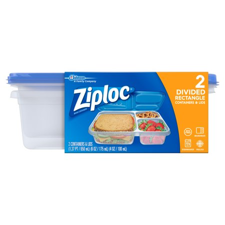 Ziploc Divided Rectangle Containers - 2ct