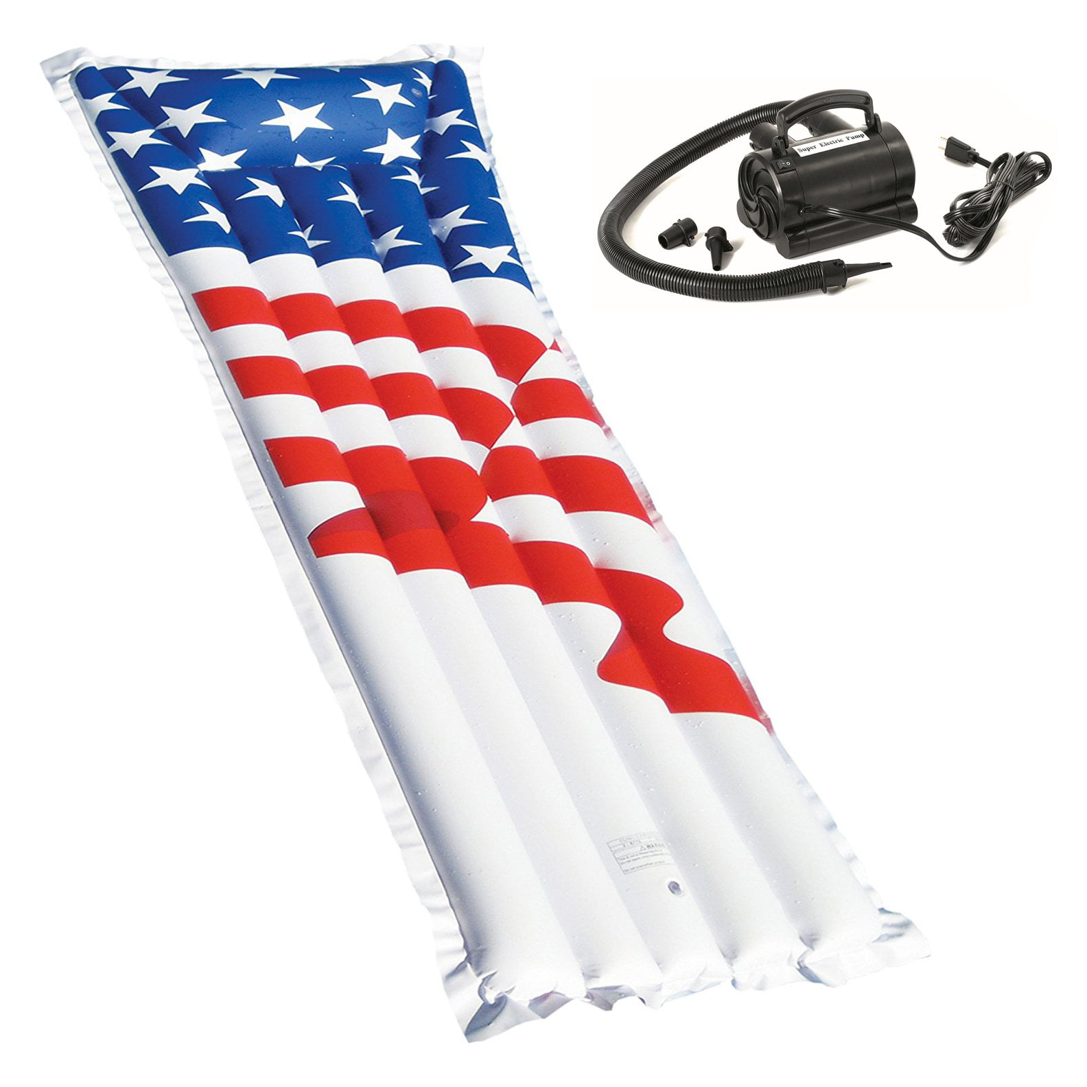 Swimline 72-Inch American Flag Swimming Pool Raft Float with Electric Air Pump by Swimline