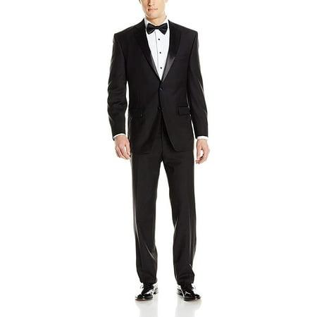 Adam Baker by Mantoni Men's M40901 Portly Fit Two-Piece Tuxedo 100% Wool - Black - - Wool Tux