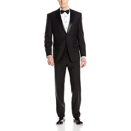 Adam Baker by Mantoni Men's M40901 Portly Fit Two-Piece Tuxedo 100% Wool - Black - 48R