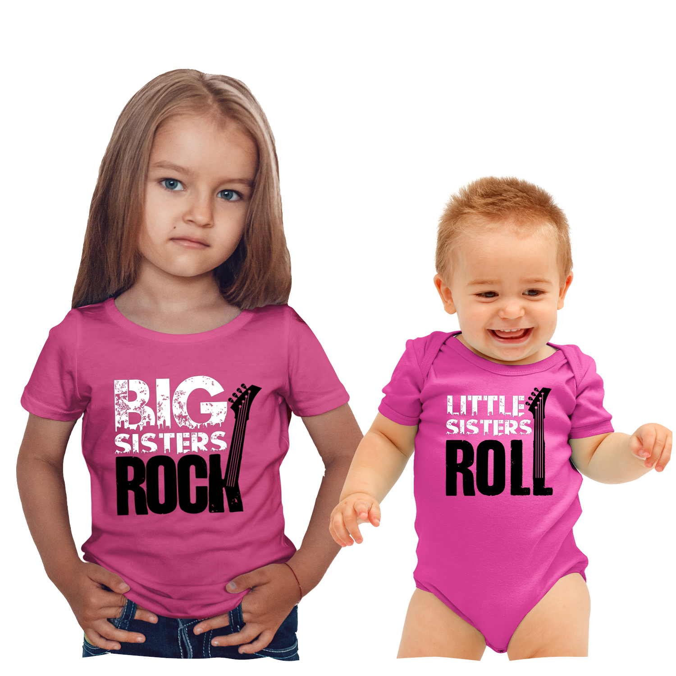 Pink Dot Puppy Dogs Big Sister Shirts Set Siblings Little Sister T-shirts
