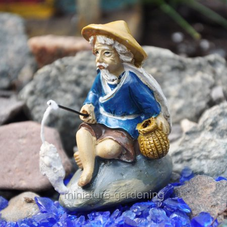 Miniature Fishing Mud Man for Miniature Garden, Fairy