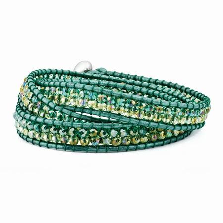 Multi Green Aurora Borealis Crystal Beaded Leather Multi-wrap Bracelet -