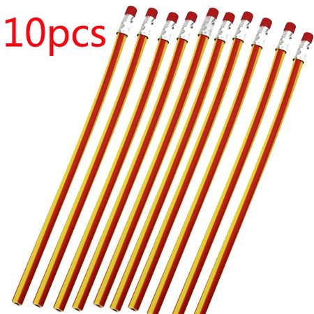 10pcs Colorful Magic Bendy Flexible Soft Striated Pencil with Eraser for Children Kids Writing Gift