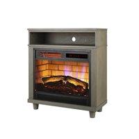 Mainstays 26'' Freestanding Wood Mantel Fireplace Heater, Grey Finish, FP404RN