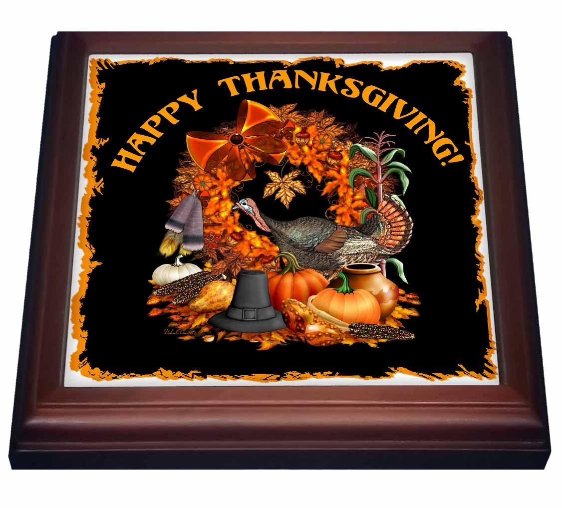 3dRose Thanksgiving featuring a wild turkey, Native American and Pilgrim themes, the Fall harvest and more, Trivet with Ceramic Tile, 8 by 8-inch