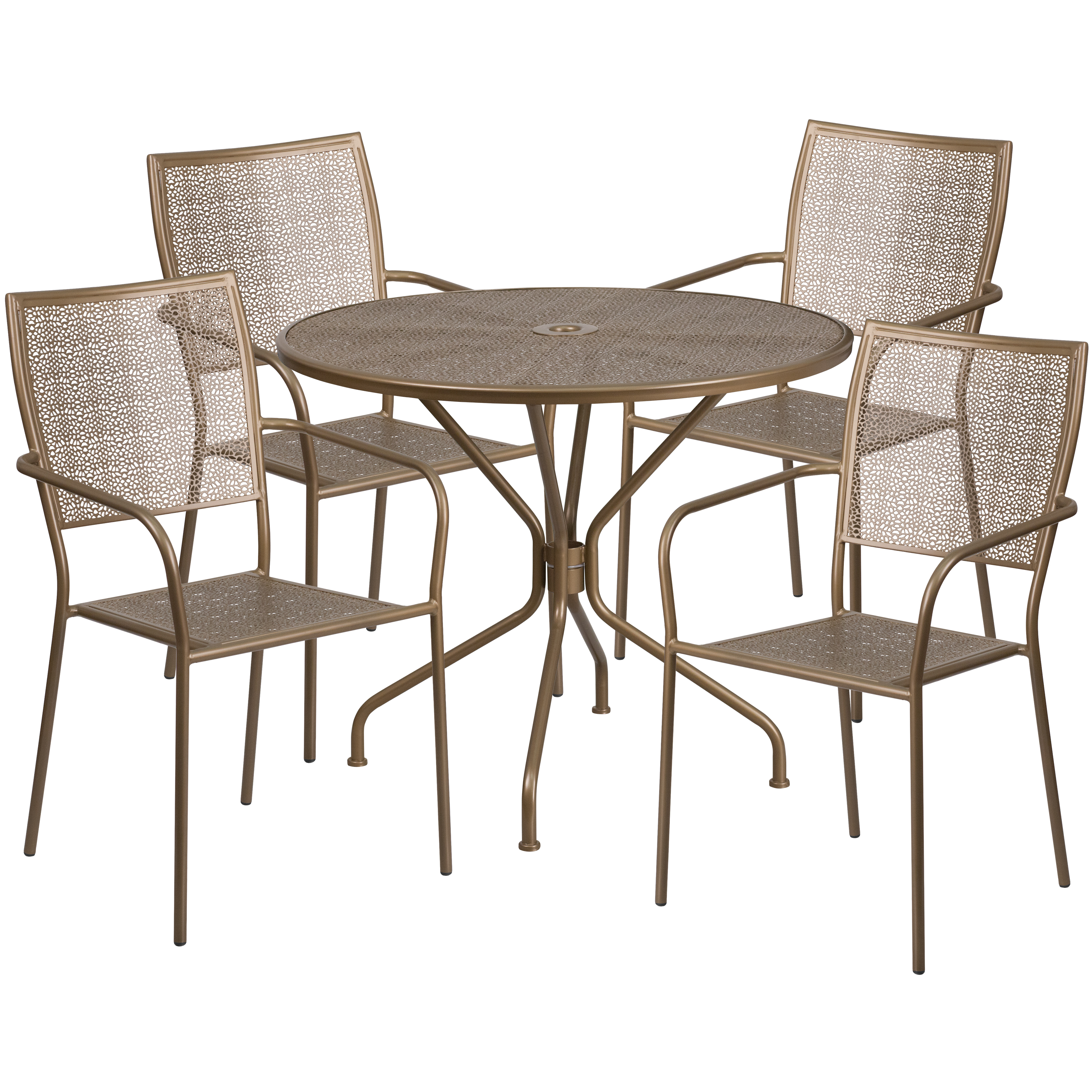 "Flash Furniture 35.25"" Round Indoor-Outdoor Steel Patio Table Set with 4 Square Back Chairs, Multiple Colors"