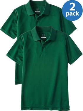 Wonder Nation Boys School Uniform Short Sleeve Performance Polo Shirt, 2-Pack Value Bundle, Sizes 4-18 & Husky