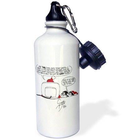 3dRose Sean Boley Cartoon about Santas E-Mail for Christmas, Sports Water Bottle, 21oz