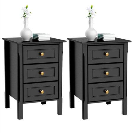 2 Set Of 3 Drawer Tall Nightstand End Table Bedside With Silver Handle Bedroom Furniture
